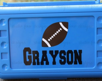 Personalized FOOTBALL Pencil Box/ Art Supply Holder - Back to School - Assorted Colors/Designs