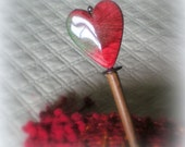 Wood Scarf or Shawl Pin.....vibrant red heart