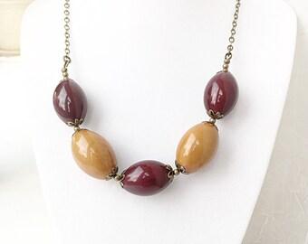SALE - Tagua Nut Jewelry -  Tagua Nut Necklace - Nut Jewelry - Burgundy Jewelry - Eco Friendly Jewelry - Big and Bold Necklace