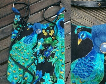 Umhängetasche recycling-fashion shopper Handtasche Boho Pfau animal-print Boho upcycling sale!!!