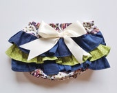 Baby Girl Bloomer-Fall vintage baby girl-navy green and pink-vintage baby girl bloomer-ruffle diaper cover-Baby Girl Fall bloomer