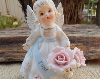 Lefton Exclusives June Angel with Roses  ~  Lefton June Angel  ~  Lefton Exclusives June Angel  ~  Lefton Bisque Spaghetti Trimmed Angel