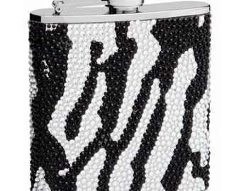 6oz Zebra Print Crystal Bead Flask TOP28