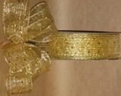 "New 1-1/2"" Gold Sheer Wired Ribbon 5 yards, Gold glitter, & Sequin Ribbon, Holiday Ribbon"