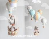 Elephant Mobile, Hot Air Balloons, Baby Mobile, Nursery Decor, Travel Theme, Nursery Mobile, Orange, Blue, Gray, Baby Boy Mobile i166