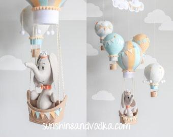 Elephant Mobile, Hot Air Balloons, Baby Mobile, Nursery Decor, Travel Theme, Nursery Mobile, Orange, Blue, Gray, Baby Boy Mobile i164