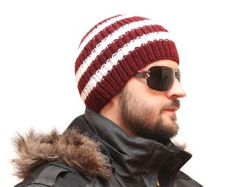 Mens knit Hats - Knit Hat, Winter Hat, Slouchy Beanie Hat, boys winter hats, winter hats mens, hat for men, knit caps, red beanie hat, HAT