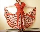 Orange Red Folk Art Festival Dress Vintage Ethnic Batik Dotted Indian Caftan Muumuu 100% Cotton Very Full Skirt