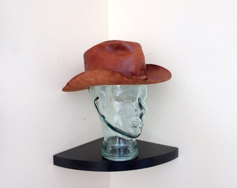 Rare Vintage Nutmeg Brown Leather Primitive Fist Full of Dollars Western Cowboy Hat Clint Eastwood Spaghetti Western