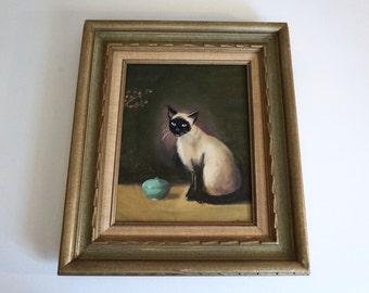 Hand Painted Framed Original Vintage Artwork Cat Portrait Siamese Wood Framed Cat Portrait - Floyd Jones Vintage