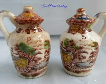 Vintage Ceramic Transferware Salt Pepper Shakers Mountain Woodland Pattern Kitchen Dining
