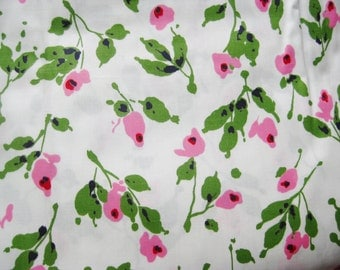 Vintage 50s Pink Green Floral Polished Cotton Fabric Remnant 6 Yards