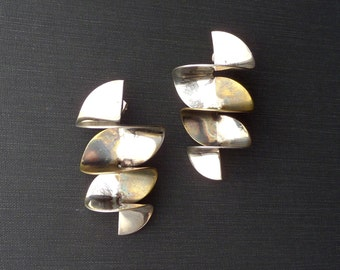 Modernist Sterling Oversize Earrings. Taxco Silver and Brass.