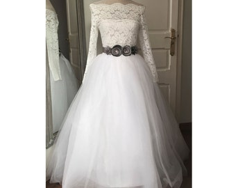 Two Pieces Wedding dress lace and tulle Custom made Bridal Gown