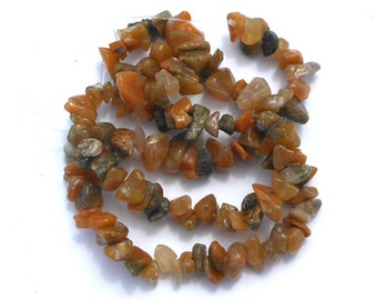 Natural Golden Jade Stone Chip Beads, Full Strand, Khaki Green, White and Muted Oranges, Beading Supplies, DIY Beads