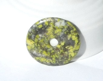 40mm Natural Yellow Turquoise Stone Donut Pendant, Spotted Stone, Light Green, Gray, Dark Green, White, Beading Supplies, Craft Beads