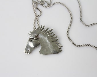 Vintage Sterling silver  Horse Head Brooch / Pin/ Pendant  # 308