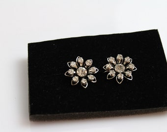 Vintage signed B.N. Bugbee and Niles  Earrings with Clear  rhinestones  #334
