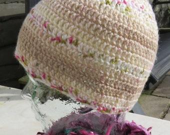 Crochet beanie hat in variegated fawn brown yarn
