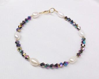 Mystic Topaz Bracelet White Pearl Bracelet Black Rainbow Crystal Bracelet 14K Gold Filled Bracelet Stamped BuyAny3+Get1 Free