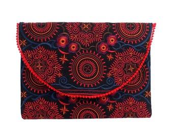 Boho Clutch Purse With Embroidered Fabric Handmade Thailand (BG7385-69C4)
