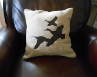 Flying Duck (Geese) on 16 x 16 Pillow Cover
