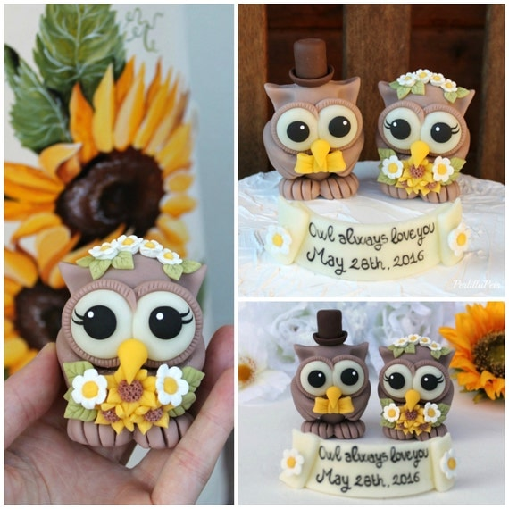 Rustic Owl Wedding Cake Topper: Rustic Owl Wedding Cake Topper Love Bird Cake By PerlillaPets