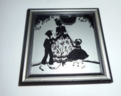 Vintage Picture Silhouette Small Picture Reverse Painted Picture
