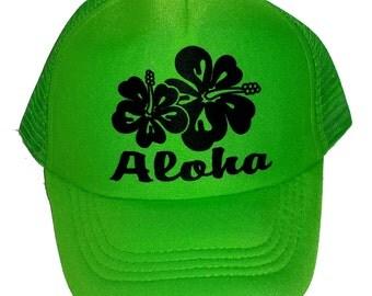 Neon Green  Aloha Hibiscus  Kid's Youth TODDLER Mesh Trucker Hat Cap Snapback