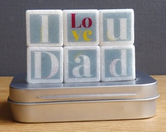 Gift for Dad, Love you Dad Letter Tiles, Dad Magnets - Fathers day Gift, Decorative Letters, mini Marble Fridge Magnets, token gift for dad