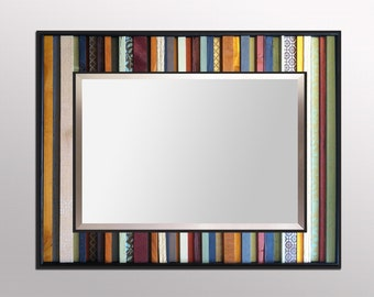 "Reclaimed Wood Mirror - ""India Reflection"" - 34x40"" Wood Stripes in Orange, Yellow, Blues, Reds - Modern Wood Wall Art - Abstract Wood Art"