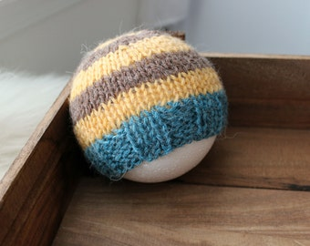 newborn photography prop, mustard yellow brown blue striped beanie hat with button, 0-2 months-soft to skin alpaca mix yarn-baby shower gift