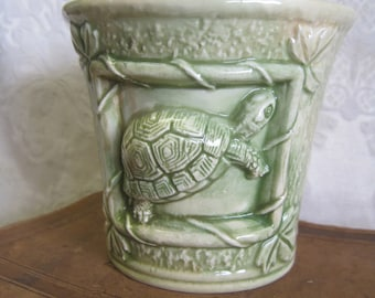 Turtle Vase Celadon Ceramic Pale Green Pottery Vintage 60s Pencil Holder Textured Whimsical Nature Woodland Home Decor Collectible