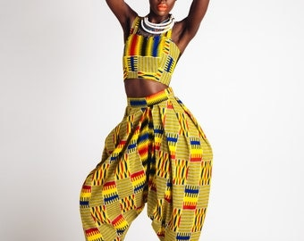 High Waisted African Print Bianca Pants Yellow and Primary