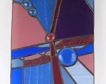 Telephone Wires II - stained glass panel