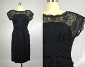 50s Black Lace Cocktail Dress Empire Waist Evening Dress.