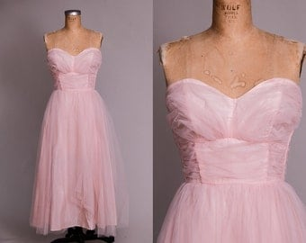 1950s Pink Prom Dress Gathered Sweetheart Neckline Rockabilly Party Dress