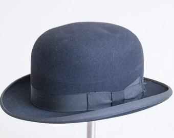 1920s Stetson Black Felt French Bowler Derby Hat size 7 1/8