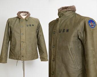 1940s USN Deck Jacket WWll Alpaca Lined United States Navy N 1 Jacket