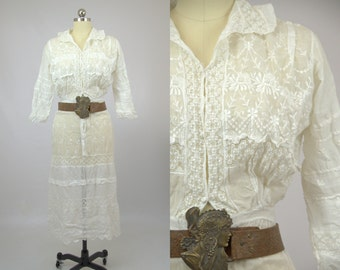 Edwardian Lace Eyelet Cotton Wedding Dress