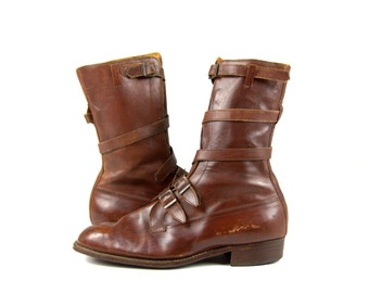 1940s Cavalry Boots Rich Leather Ankle Strap Boots