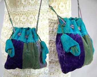 1920 Velvet Patchwork Bohemian Drawstring Handbag Purse