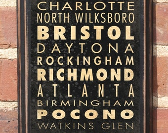 NASCAR Racing Track List v1 Wall Art Sign Vintage Style Race Car Speedway Home Decor Gift Present Daytona Bristol Antique SHIPPING INCLUDED