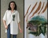 ON SALE: Vintage Safari Viscose-Linen Shirt size L