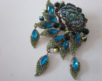 HUGE rhinestone jewel pin brooch large blue rose pendant victorian style