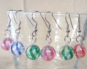 Swirled Christmas Ball Ornament Earrings, Handmade Original Fashion Jewelry, Festive Holiday Colorful Simple Playful Ladies Teens Gift Idea