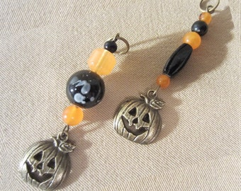Orange & Black Handmade Jack O'Lantern Add a Charm Purse Charm Zipper Pull Phone Charm Keychain Charm Stylus Charm Bag Charm Guitar Charm