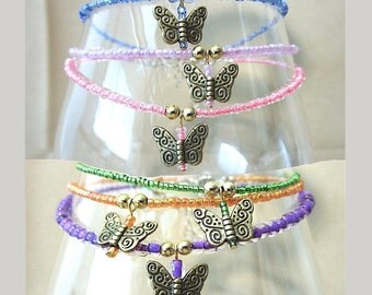 Glass Beaded Anklet w/Brass Butterfly Charm, Something Blue Anklet Glass Seed Bead Ankle Bracelet Pink Plus Size Anklet with Butterfly Charm