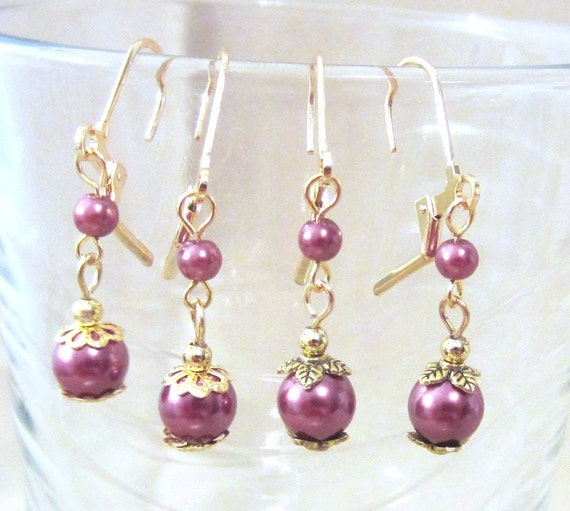 Double Pearl & Gold Dangle Earrings, Handmade Original Fashion Jewelry, Simple Elegant Classic Style Petite Wedding Earrings, Gift for Her