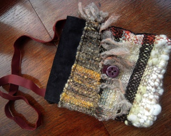 Handwoven bag - cream, black and natural dyed wool colours